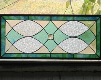 Traditional Style Stained Glass Panel Transom or Sidelite