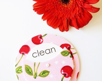 Clean Dirty Retro Cherries Dishwasher Magnet - Vintage Inspired Foodie Pink Red Stainless Steel Non Magnetic Home Decor Vintage Kitchen Food