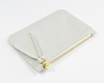 Pale Grey Leather Zip Pouch Purse Wallet Handmade