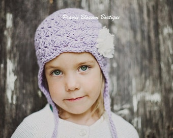 Crochet Baby Earflap Hat, Baby Ear Flap Hat, Violet, Off White, Cotton Beanie, 0 to 12 Months