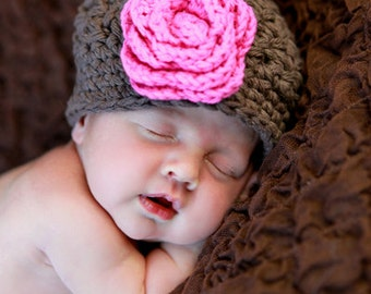 Brown Newborn Beanie Hat, Girl's Infant Hats, Crochet Baby Hats for Girls, Baby Beanie Hats, Brown, Hot Pink, Cotton, Newborn Size