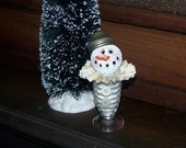 Snowman, antique salt shaker, table top decor, winter decor, Christmas decor, vintage shaker, handmade, snow, glitter