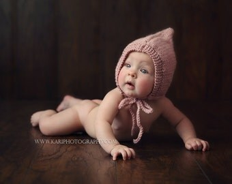 6 - 12 months Ribbed Knit Bonnet - Dusty Rose - Cream - Ribbed Knit Bonnet - Photography Prop