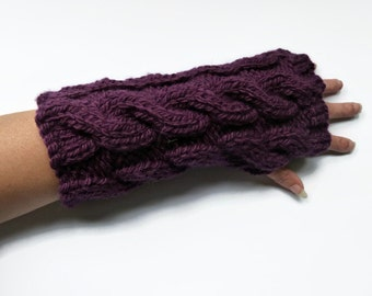 Fingerless Mittens hand knitted  chunky cable fingerless gloves wrist warmers uk seller