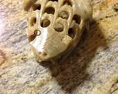 Handcarved Marble Unusual Frog Flower Frog