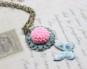 Pink Flower and White Butterly Necklace
