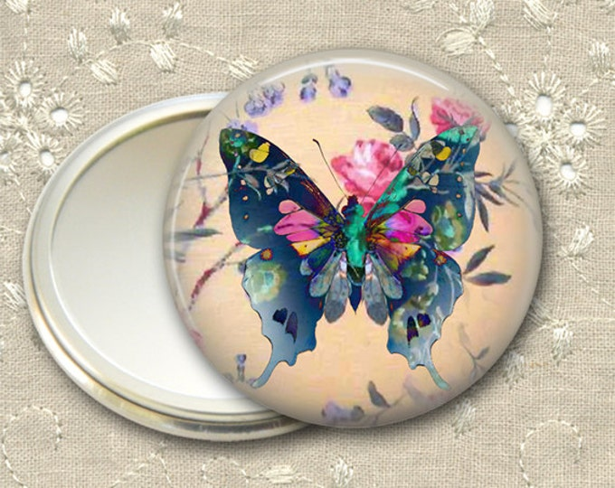 shabby butterfly pocket mirror,  original art hand mirror, mirror for purse, bridesmaid gift, stocking stuffer  MIR-361