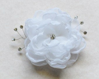 White Flower Bridal Hair Clip Chiffon Rhinestone Floral Fascinator Wedding Headpiece Sash Clip Handmade