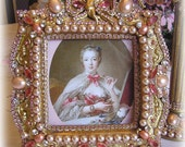 "Fabulous Jeweled ""Madame de Pompadour"" Picture Frame Pink Pearls - Victorian Rococo Romantic - Not so Shabby Chic - One of a Kind Handmade"