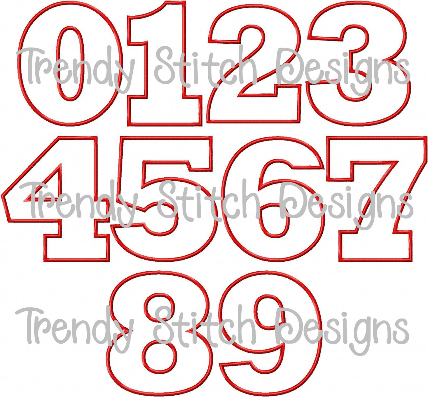 Birthday Numbers Applique Design Machine by ... Number Designs