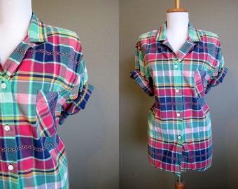 Plaid Blouse Vintage Villager Womens Shirt 1980s Large XL