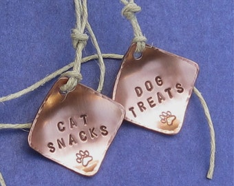 Dog Treats and Cat Snacks Jar Tags - Copper - Hand Stamped