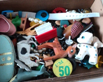 Time Capsule 1960s Junk Drawer Toys Mr. Potato Head Animal Figurines Metal Jacks and More