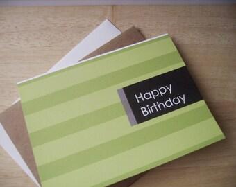 Modern Birthday Card - Green Happy Birthday Stripes, Contemporary Birthday, Neutral Modern Birthday Invitations, Lime Green Purple Black