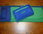 Navy Green Nap Mat personalized Large Size Including Blanket, Pad, and Pillow