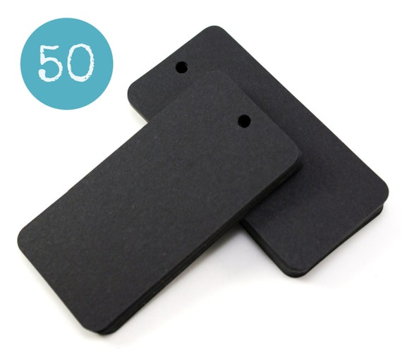 50 BLACK blank hang tags rectangle gift tags or parcel tags