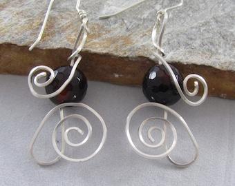 Swirly Sterling Silver with Dark Brown Flourite Beads