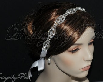 HPH17 NEW - Bridal Accessories Wedding Headband Bridal Rhinestone Swarovski White Pearls Ribbon Headband