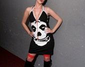 Vixen Fiend Skull Misfits Stretch Mini Halter Dress