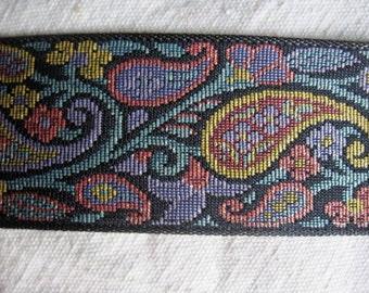 Paisley sparkle  on BLACK jacquard woven belting