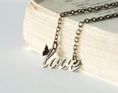 Love Necklace Delicate Boho Hand Cut With Tiny Butterfly Made To Order
