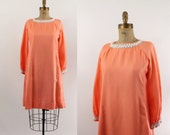 60s shift dress - tangerine party dress - silver sequined collar