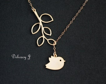 Bird Necklace with Leaf Branch Lariat Style, Gold Bird Leaf Necklace Baby Bird and Branch, Baby shower Bridesmaid gift Birthday Christmas