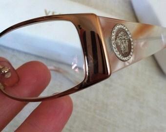 Striking Medusa Head on Tortoise Vintage VERSACE Rectangle Eyeglass Frames