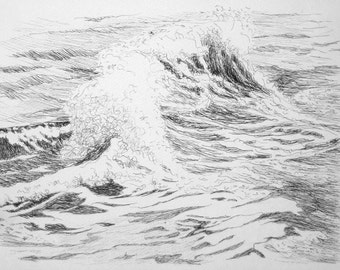 Wave drawing, original drawing, ballpen, ink, sketch, sea study, black ink, 9 x 12 inches