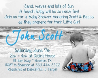 Beach Baby Shower Invitation DiGiTaL FiLe - For BoY or Girl - PLEASE scroll Down and REad for ORderIng and PriNTing Instructions