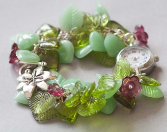 SALE: Springtime statement bracelet watch with green leaves and pink flowers,