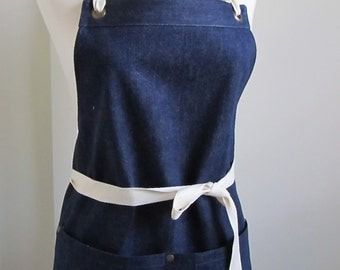 Full Denim Apron Woman Cone Mills Denim Restaurant Apron Crafter Apron