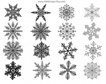 Frozen Snowflakes ClipArt, White Winter Clip Art,  Intricate Snow Flakes, Christmas Digital Stamps, Vector EPS, PNG Images & Brush