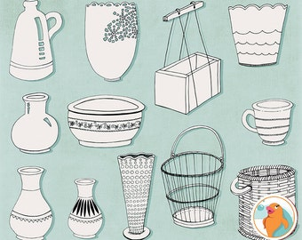 Flower Vase ClipArt, Flower Pot Images, Floral Container Line Art + Photoshop Brush, Hand Drawn Outline Digital Stamps