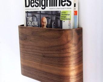 wooden newspaper rack wall mounted