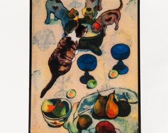 Wooden Keepsake Box Cat Art, Wooden., Gauguin, Memory Box, Cat Gifts, Cat Lover Gift, Cat Memorial, Deborah Julian