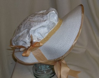 White and Gold Poke Bonnet- Regency, Georgian, Jane Austen Era Bonnet