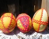 75% off enter LOVE2016.  Eggs, Homespun Eggs, Easter, Handmade Eggs, Egg Bowl Filler, Fabric Eggs, Ribbons Flocking