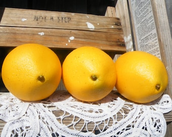 50% off this item, enter LOVE99 at checkout, V i n t a g e Yellow Lemons, Set of 2, Celluloid Lemons, Fruit Bowl Display, Farm Fr