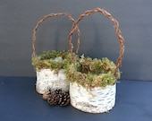 Handmade birch bark basket, flower girl basket