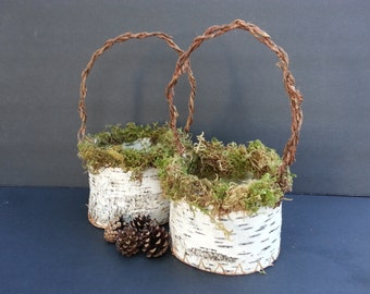 Handmade birch bark basket, flower girl basket