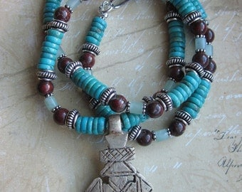 Turquoise Red Brecciated Jasper and African handcrafted Cross -Necklace