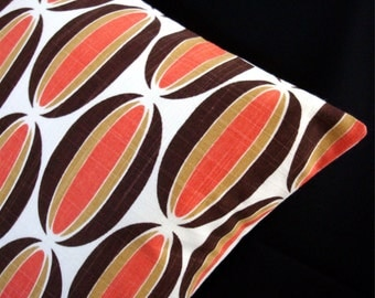 "Modern Pillow Cover - Orange, Brown, Off-White - Spice Loops - LUMBAR - 11"" x 17"" for 12"" x 18"" insert - Last One"