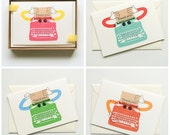 Typewriter Robot Thank You Cards - 4 colour choices available!