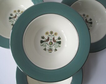 Vintage Dessert Bowls Homer Laughlin Persian Garden Set of Four - So Charming