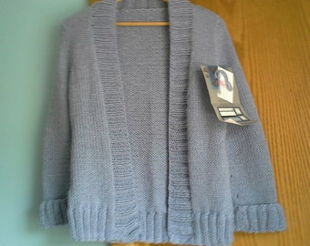 Hand Knitted Misses 3/4 Length Sleeve Cardigan
