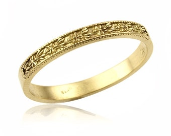 14K Gold Classic Floral Engraved Wedding Band, Gold Wedding Band, Floral Promise Ring, Floral Jewelry, Unique Wedding Band, Wedding Jewelry