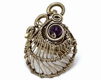 Amethyst Ring, Purple Stone Ring, Gothic Ring, Wire Wrap Ring, Gemstone Ring, Silver Wire Ring, Goth Ring, Big Ring, Victorian Ring