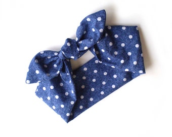 Faux Blue Denim Polka Dot Head Scarf, Blue and White Polka Dots Head Scarf, Blue and White Head Wrap