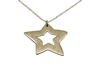 Engraved 9k Yellow Gold Star Necklace